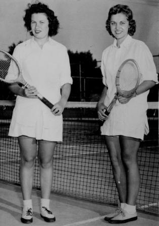 Jane (right) and her doubles partner