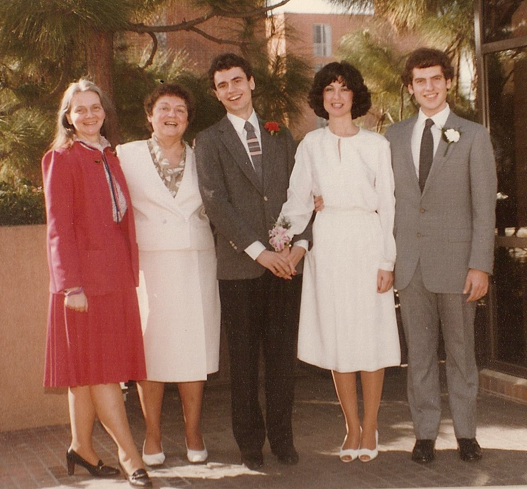 Mary Jane (left...always...*g*) looking her most conventional at Sally & my wedding in 1983