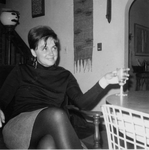 My mother, Jane Roberts in our living room around 1968